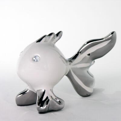 Közepes fehér ezüst hal alakú dísztárgy