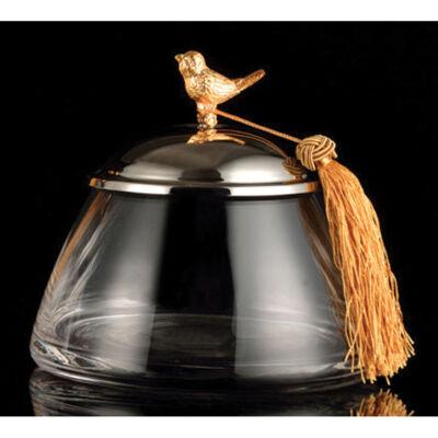 Kis üvegtál madármintás fedővel