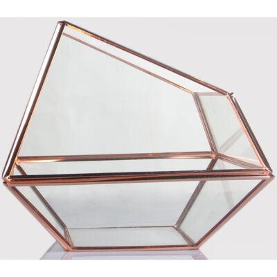 Trapezoid formájú üveg dísz rose gold kerettel