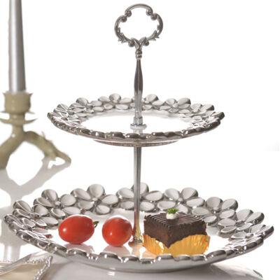 Két szintes fehér ezüst süteményestál