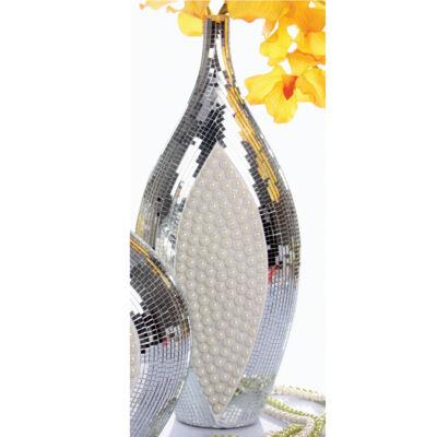 Nagy fehér-ezüst váza