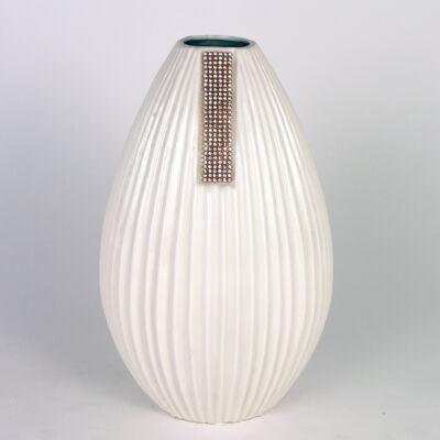 Kicsi íves fehér-arany váza